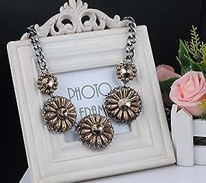 XSS Piedras preciosas y Ronda collar de flores de perlas-Brown