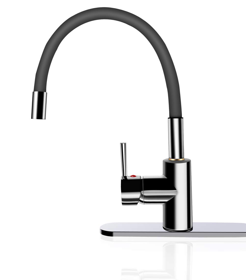 Skfirm Single Handle 360 Degree Swivel Sprayer Kitchen Faucet, Contemporary Kitchen Sink Faucets with Flexible Silicone Neck Pull-down Spray Head (SK-EA03)