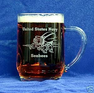 Custom Etched U. S. Navy Seabees Emblem on Clear Glass 20 oz Mug (1) from PG SEEDS