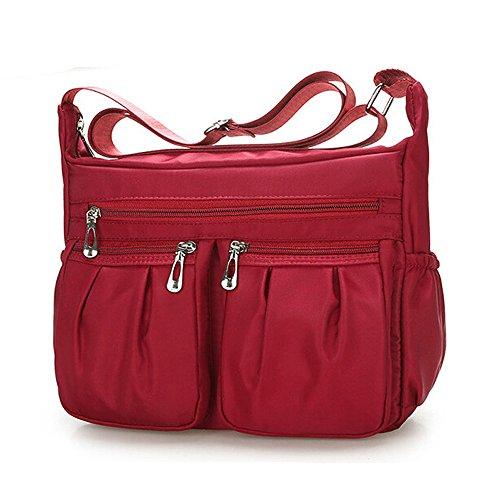 KLGDA Women's Messenger Bag,Waterproof Vintage Solid Color Nylon Shoulder Bag Computer Laptop Bag with Zipper Red