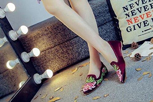 Lazutom mujer de para Bailarinas Red Lona Pa7wPHfqW