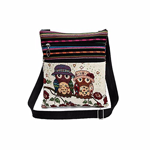 m·kvfa Fashion Embroidered Owl Tote Bags Women Shoulder Bag Handbags Postman Package Casual Ladies Girls Coin Wallet Purse Bag Key Credit Card Holder Case Pocket Gift (C) ()