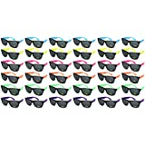 Edge I-Wear 36 Pack High Quality Neon Horned Rim Sunglasses with 100% UV Protection (Made in Taiwan)