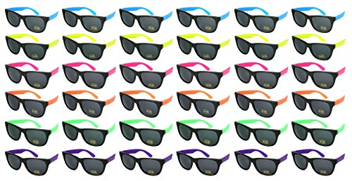 Edge I-Wear 36 Pack Neon Party Sunglasses with CPSIA) certified-Lead(Pb) Content Free and UV 400 Lens 5402R-SET-36 (Made in ()
