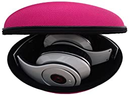 Sturdy Hard Shell Headphone Carrying Case, Headset Storage for Travel | Impact Protection for Beats Dr Dre Headphones - including Studio, Solo, Solo2, Solo HD, Wireless & More | Pink Ballistic Nylon
