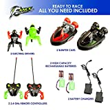 ToyThrill 2 Pack Remote Control Bumper Cars – Two Player Stunt RC Toy with Ejectable Drivers and Crash Sounds - Batteries and Adapter Included – Green and Red