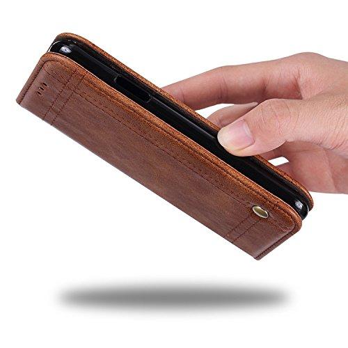 Funda para Moto E5 Plus, SunFay Premium Cuero PU Cover Magnético Flip Folio Ranura para Tarjetas Protective Billetera Funda Case con Stand Función para Moto E5 Plus - Negro Gris