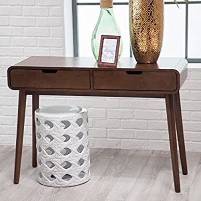 Belham Living Carter Mid Century Modern Console Table - Overall dimensions: 41.75W x 15.75D x 30H in. Drawer dimensions (ea.): 18W x 13.2D x 3.5H in. Solid poplar legs with birch veneer - living-room-furniture, living-room, console-tables - 51Gn6Ir63KL. SS400  -