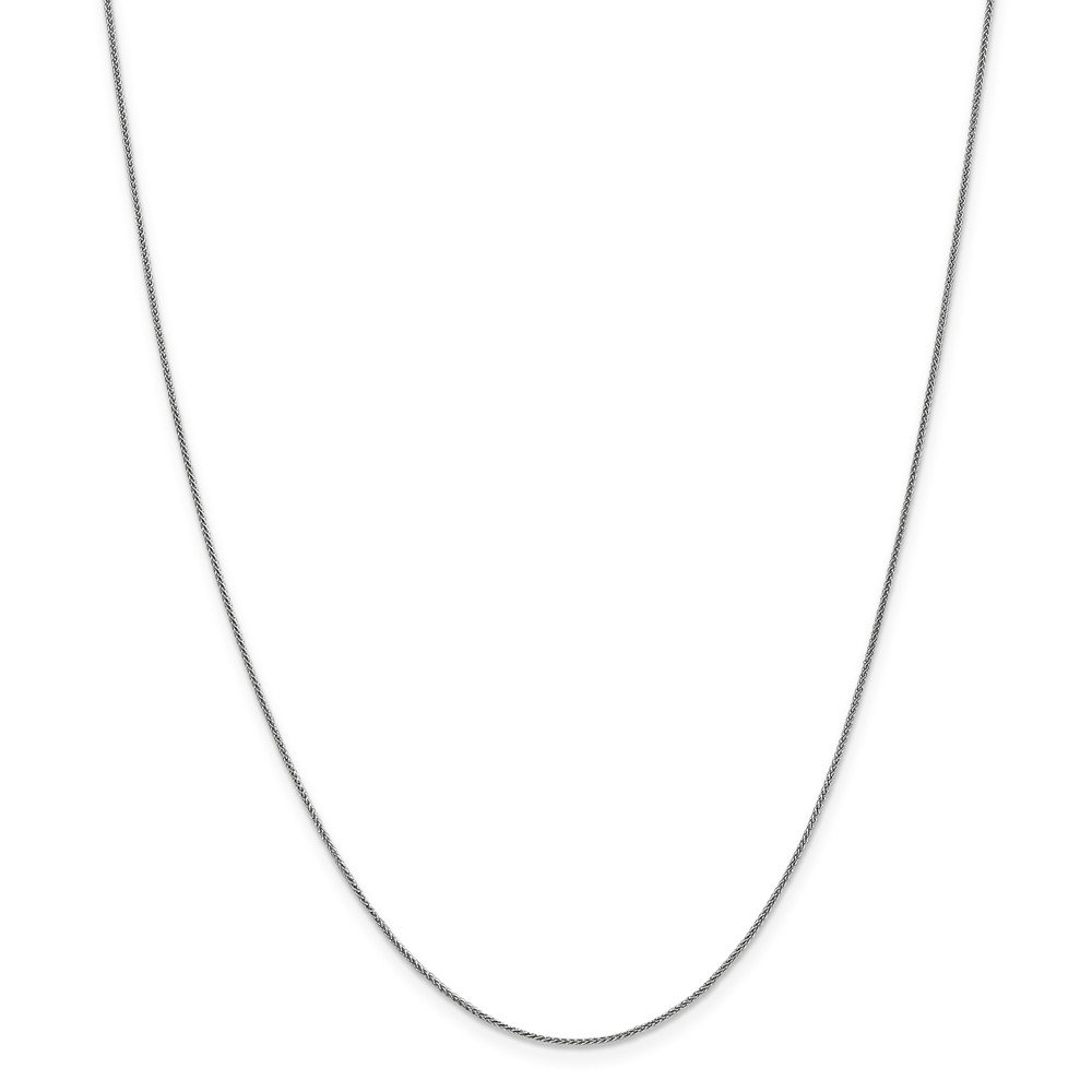 Jewel Tie 14k White Gold .8mm Spiga Chain Necklace 18'' - with Secure Lobster Lock Clasp