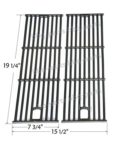 Hongso PCC182 Cast Iron Cooking Grid Set Replacement for Gas Grill Models Perfect Flame GSC3318 and Perfect Flame GSC3318N, Set of 2