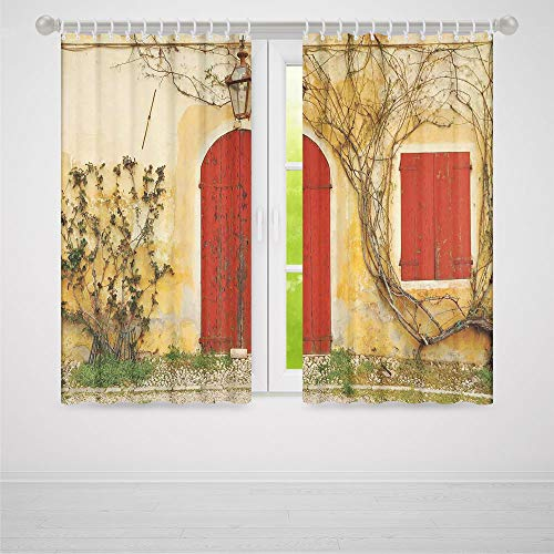 C COABALLA Decor Collection,Shutters,for Bedroom Living Dining Room Kids Youth Room,Doorway with Blinded Door and Window to The Rural Tuscan House Italy Europe2 Panel Set,103W X 94L Inches