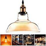 11'' Round Shaped Amber Glass Vintage Pendant Light Fixture w/ Industrial Copper Hanging Ceiling Lamp for Décor Lighting Indoor Home Kitchen