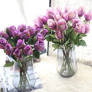 Iusun Artificial Flowers 6 Pcs Rose Real Looking for DIY Floral Wedding Bouquet Centerpieces Arrangements Party Festival Holiday Home Plant Decorations Valentines Gift Hot Ornament 3