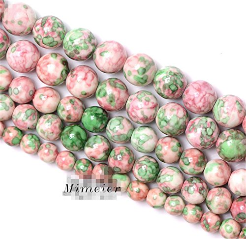 Mimeier 4-12mm Colorful Jade Round Beads Strands, Synthetic Ocean White Jade(Rain Flower Stone), Dyed, Pink and Green (003YC) ()