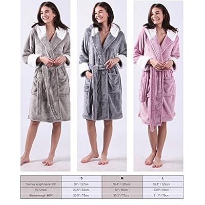 ALL AOER Ladies Bathrobe Fashion Hoodies, Microfiber Fleece Flannel Adult Bathrobes for Women