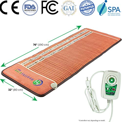 HealthyLine Far Infrared Heating Pad - Natural Amethyst Obsidian Tourmaline Crystals - TAO Mat Large 7632 Firm - PEMF InfraMat Pro®