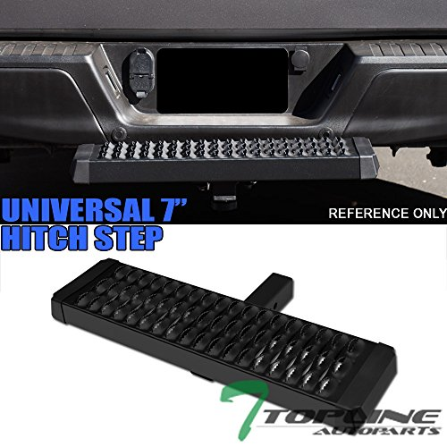 (Topline Autopart Universal 7 Inch Matte Black Trailer Tow Mount Rear Hitch Step Bumper Guard For 2