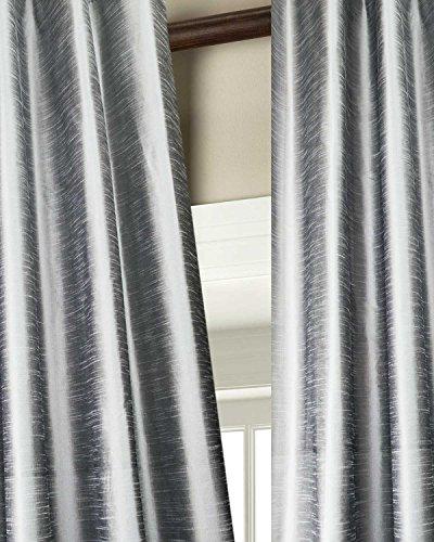 Solid toned faux silk dupion curtain/panel/drape (SILVER, 52″W X 84″L)