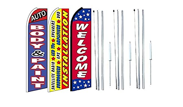 Auto body and paint King Swooper Feather Flag Sign Pack of 20 hardware not included