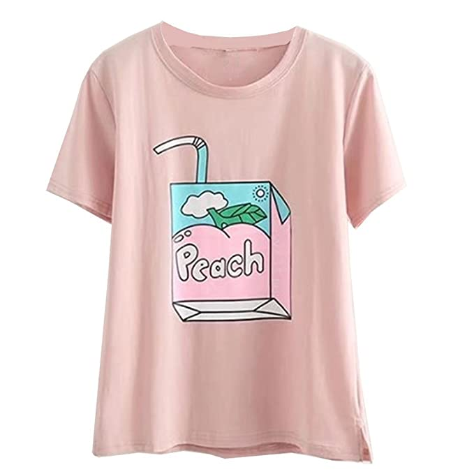 Women Cute Kawaii T Shirts Peach Juice Box Embroidery Harajuku Fashion  Shirts bca38797011a