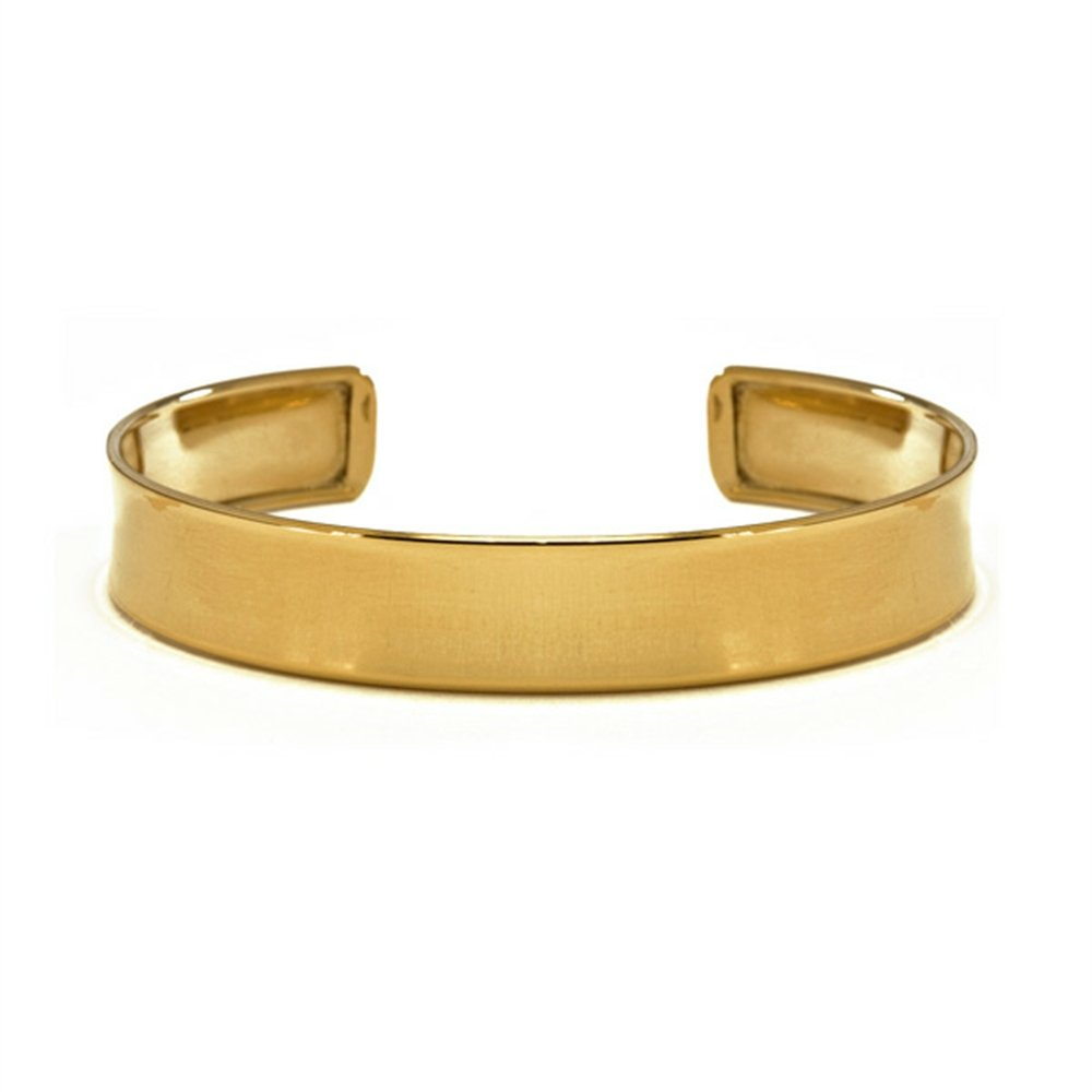 14k Yellow Gold 10.4mm Polished Cuff Bangle Bracelet
