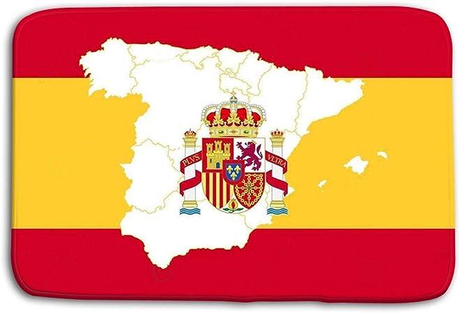Soefipok Cocina Piso Entrada de baño Puertas Tapetes Alfombra Mapa Bandera España Mapa Bandera España Mapa del Mundo Gráfico Guapo Antideslizante Alfombrillas de baño: Amazon.es: Hogar
