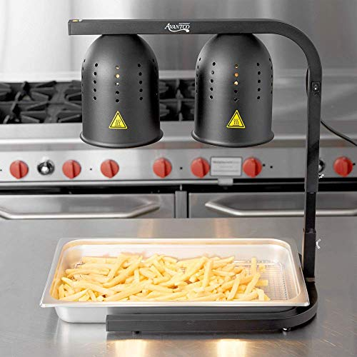 Avantco W62-BLK Black 2 Bulb Free Standing Heat Lamp/Food Warmer - 120V, 500W