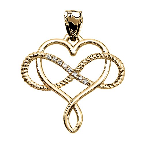 Infinity and Heart Intertwined Diamond 10k Yellow Gold Rope Design ()