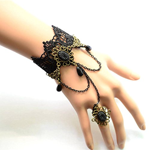 [black floral lace bracelet - Black beadspendant Court style charm bracelet with ring chain- vintage Wishing Prayer] (Bride Of Dracula Costumes)