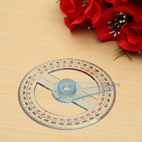 Portable All Circular 10cm Plastic 360 Degree Pointer Protractor Ruler Angle Finder Swing Arm