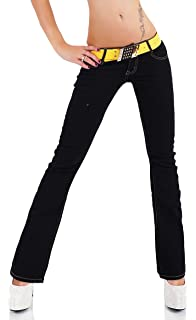 aae7026b8ffe5 SIMPLY CHIC Womens Hipster Bootcut Stretchy Jeans Black Sizes UK 4 6 8 10 12