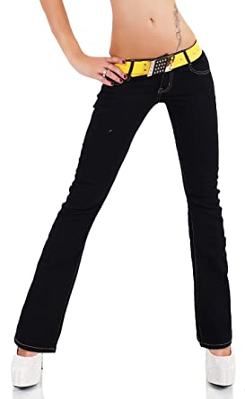 453086918bd SIMPLY CHIC Womens Hipster Bootcut Stretchy Jeans Blue Black Including Belt Sizes  UK 4 6 8