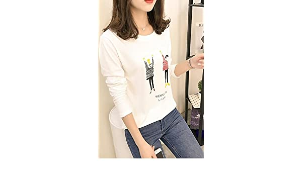 Amazon.com   Female loose long-sleeved shirt Korean version 2018 new sweater  coat fashion student cartoon bottoming shirt Qiuyi for women girl   Beauty 227c54fc9