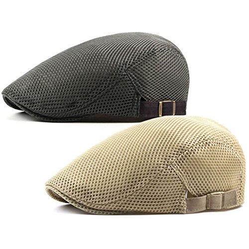 Men's Breathable Mesh Summer Hat Flat Cap Beret Ivy Gatsby Newsboy Cabbie Caps (B-Grey/Khaki)