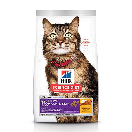 Hill's Science Diet Dry Cat Food, Adult, Sensitive Stomach & Skin, Chicken & Rice Recipe, 7 lb Bag - Allergic Cats
