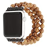 ZXK CO Watch Band for Apple Watch 38mm Handmade Luxury Beaded Jewelry Strap Elastic Strech Replacement Bracelet Band for Apple Watch Series 1 Series 2 Series 3,Sport, Edition (Wooden)