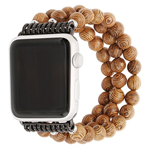 - ZXK CO Watch Band for Apple Watch 38mm Handmade Luxury Beaded Jewelry Strap Elastic Strech Replacement Bracelet Band for Apple Watch Series 1 Series 2 Series 3,Sport, Edition (Wooden)