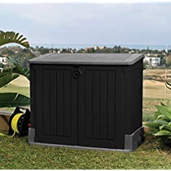 Keter Store It Out Midi Outdoor Plastic Storage Grey and Black in a Garden