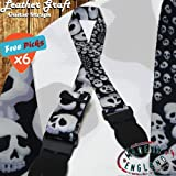 UK-made Ghost Skulls Shadow Gothic Guitar Strap ELECTRIC ACOUSTIC BASS + 6 Picks