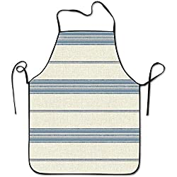 1y2x Nautical Ocean Striped Pattern Aprons Bib Unisex Lace Adjustable Polyester Chef Cooking Long Full Kitchen Aprons For Outdoor Restaurant Cleaning Serving Crafting Gardening Baking Bbq Grill