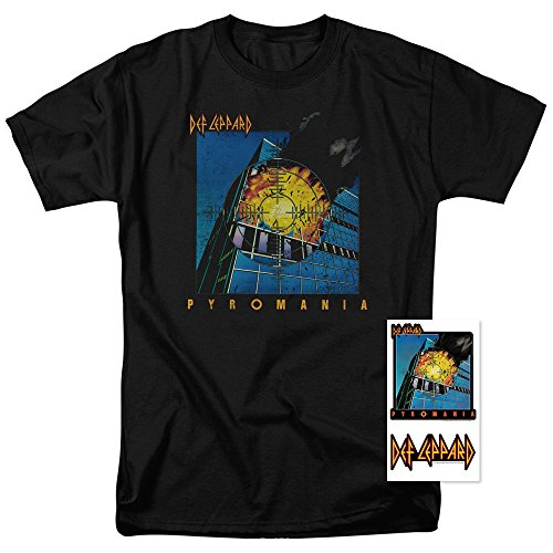 (Def Leppard Pyromania Album Cover T Shirt & Exclusive Stickers (Medium) Black)