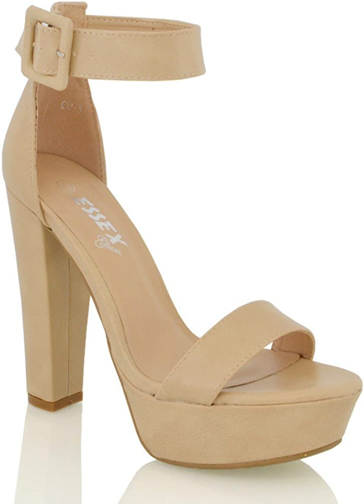 ESSEX GLAM Womens High Heel Platform Sandals Ankle Strap Pumps