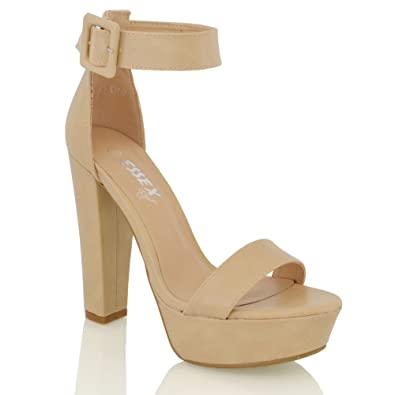 228e9341ac8 ESSEX GLAM Womens Ankle Strap Platform Nude Synthetic Leather Sandals 6 B(M)  US