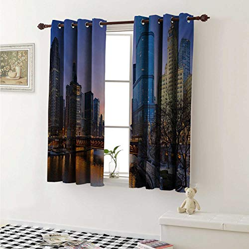shenglv Landscape Waterproof Window Curtain USA Chicago Cityscape with Rivers Bridge and Skyscrapers Cosmopolitan City Image Curtains for Party Decoration W84 x L72 Inch Multicolor
