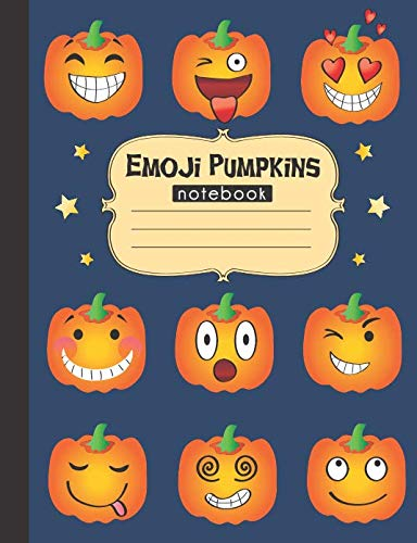 Emoji Pumpkins Notebook: 120 page, writing notebook for school, wide ruled for $<!--$6.99-->
