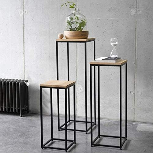 Art Decoration Nesting Table: Solid Metal Frame With Sheesham Wood Top
