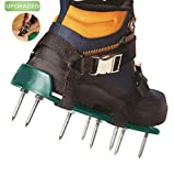 ABREMOE Lawn Aerator Shoes Lawn Aerator Sandal with Heavy Duty Spike 5.5 cm Long and Extra Tools for Aerating Yard, Lawn - Comfort Design with Buckles and Adjustable Straps, fit for 6-13 Shoe Size