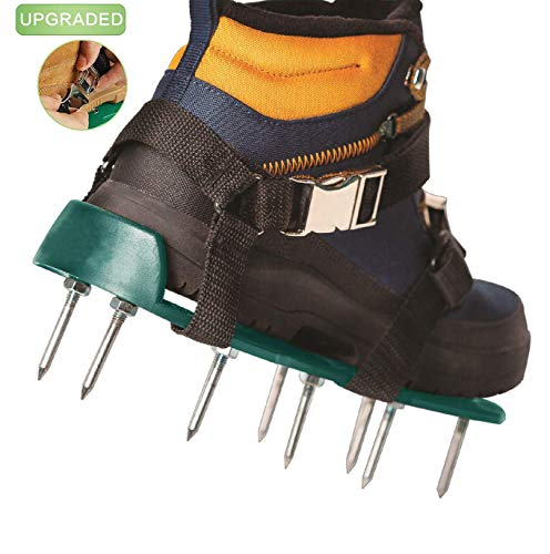 EEIEER Lawn Aerator Shoes, Aerator Shoes with Newest Designed Straps Heavy Duty Spiked Sandals for A