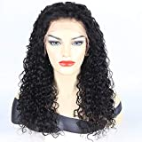 Curly Human Hair Full Lace Wigs 130% Density Brazilian Loose Deep Curly Wig for Black Women Natural Color 14 inch
