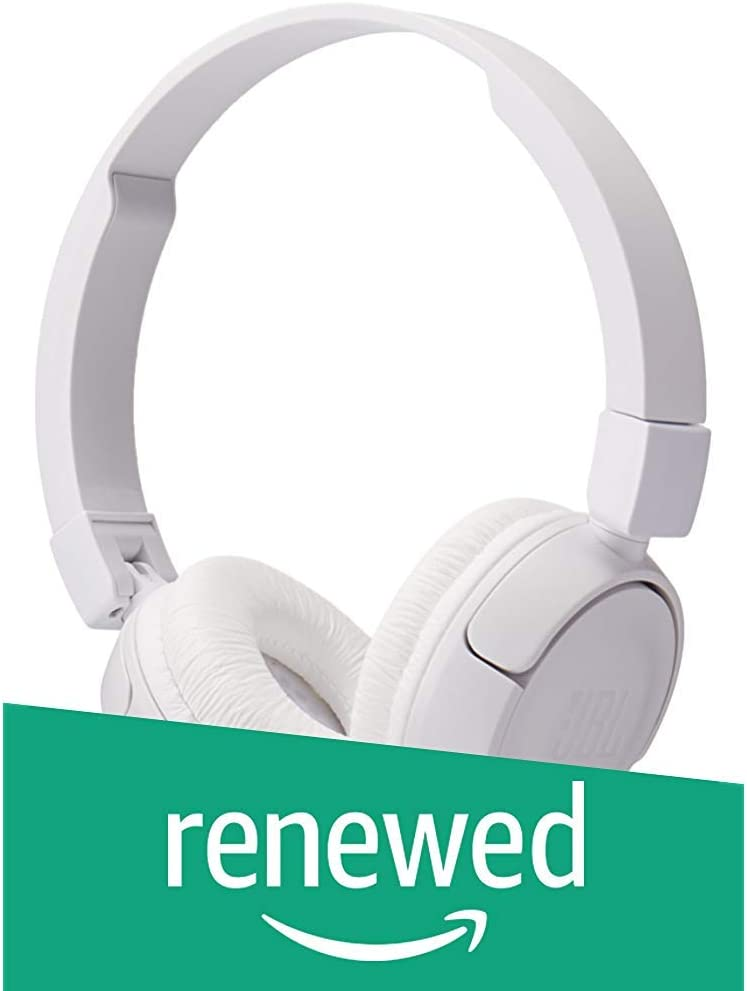 JBL Pure Bass Sound T450 Wired On-Ear Headphones White (Renewed)